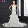 Q-022 Attractive Strapless Sleeveless Sheath 2016 Lace Wedding Dress