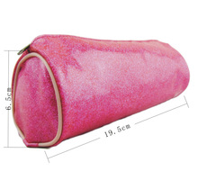 Pink bling PVC leather round shape designer cosmetic bag