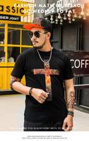 OEM large printing mens polo t-shirt cross flame round neck short sleeve 100% cotton wholesale stock custom big size men t shirt