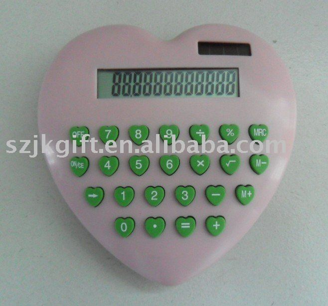 8 digits heart shape solar desk calculator