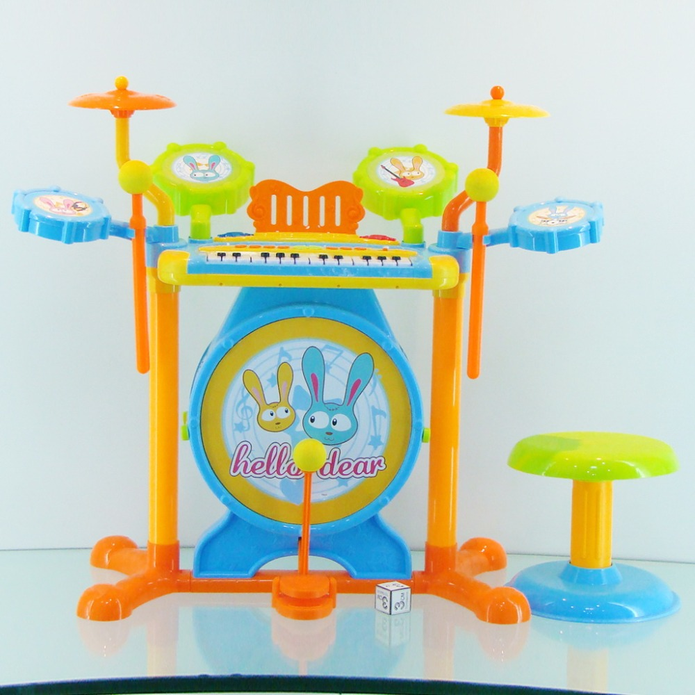 TOYZ Musical Instrument kids Jazz Drum play set with mic-phone