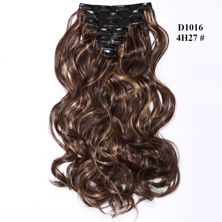 Aisi Hair Mixed Brown and Coffee Yellow Color Synthetic 16 Clips in Hair Extensions Fashion Women's Extension