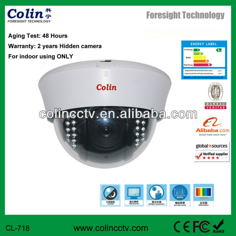 Colin Supply security dome analog camera 700tvl sony cctv camera clock radio hidden camera
