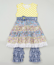 Top Quality Yellow Tiered Tunic Blue Ruffle Pants Young Girl Wear Loose Design Suit For Kids Z-CS80726-(36)