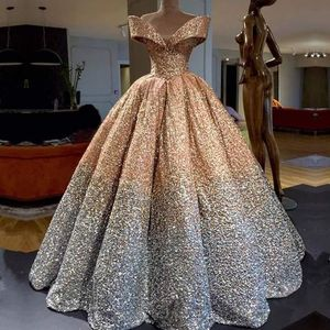 Unique Mixed Color Off-Shoulder 2018 Wedding Dress Bridal Gown Shinny Pleated Puffy Skirt Ball Gown Prom Dresses