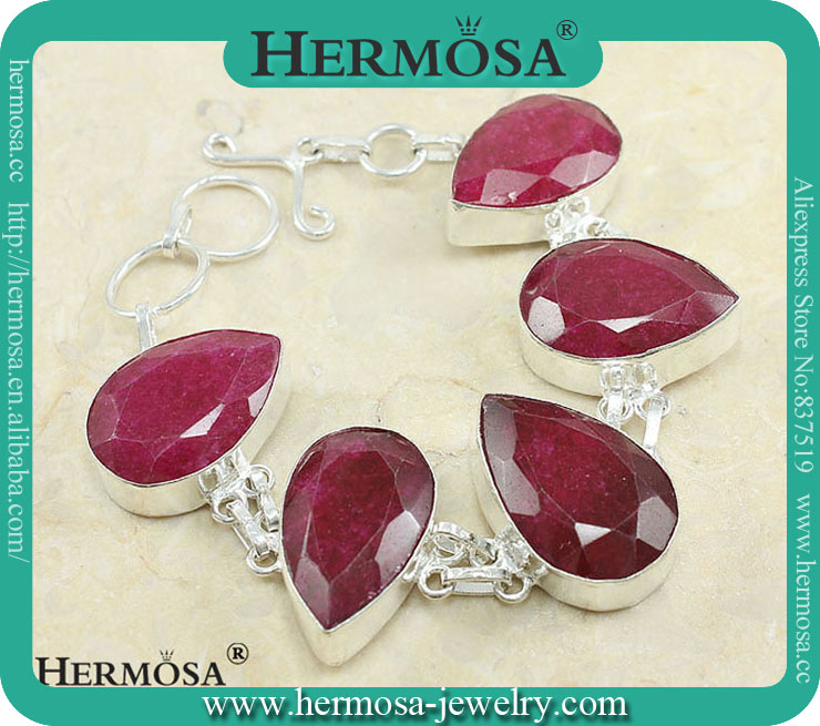 Genuien Teardrop Cherry Ruby 925 Sterling Silver Women Dress Bracelet Y810
