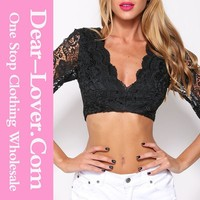 New Ladies Plain Beating Heart Black Crop Top