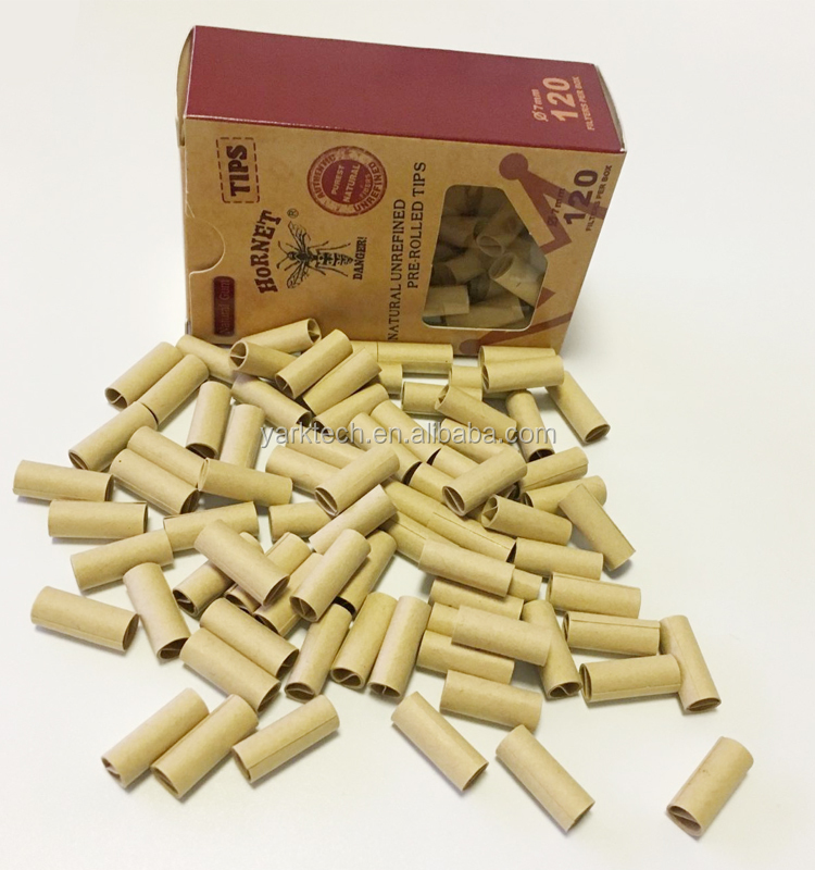 New Hornet Prerolled Filter Tips 120pcs/Box Finest UnRefined Cigarette Rolling Tips 7mm Natural Hemp Gum Smoking Accessories