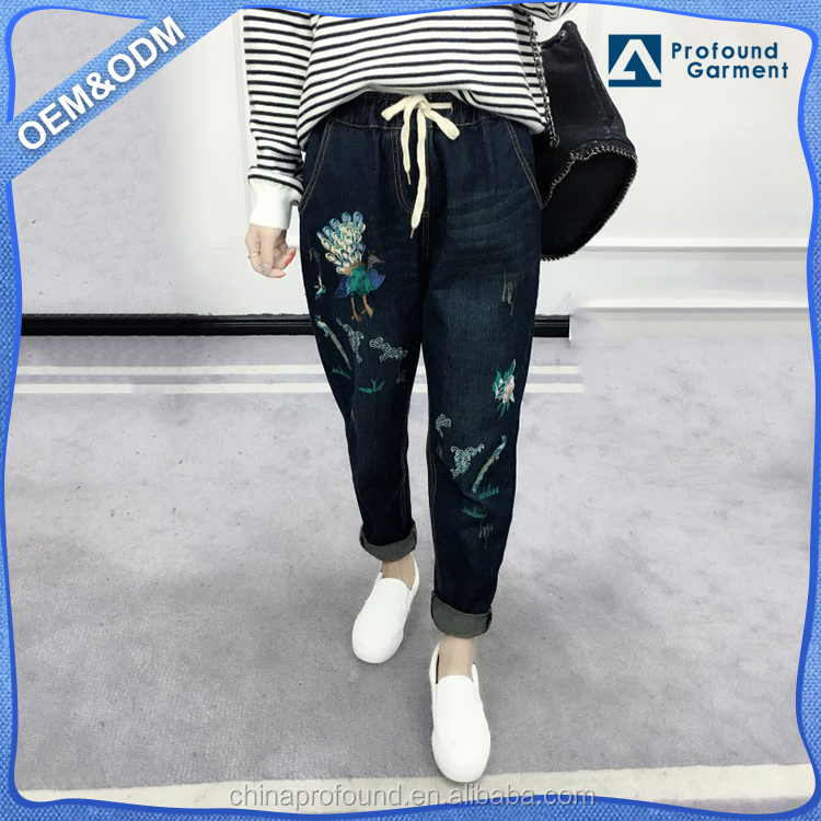 Custom women loose cotton pants denim jean embroidered jeans pent