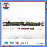 High quality outdoor bangle 550 paracord survival bracelet