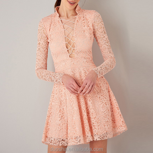 woman elegant high quality lace long sleeve bridesmaid dress for women front open pink lace dress