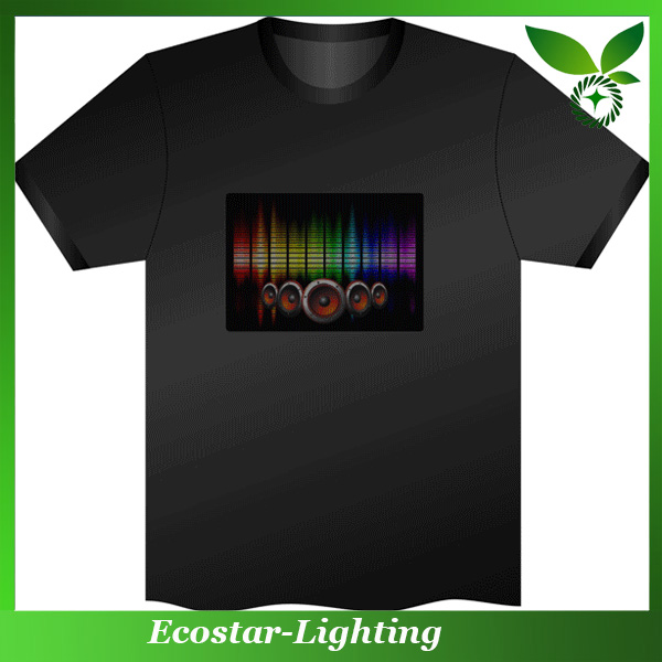 Sound activated EL t shirt Promotional LED t shirt