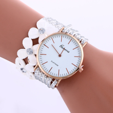 2969 wholesale watch women ladies flower long strap geneva rose gold watch