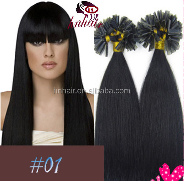 "Wholesale China Hair Factory 100S 18"" Nail tip hair remy Human Hair Extensions #01Jet <strong>Black</strong> 0.5g/strand"