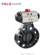 "4"" NPT pneumatic PVC plastic wafer type butterfly valve"