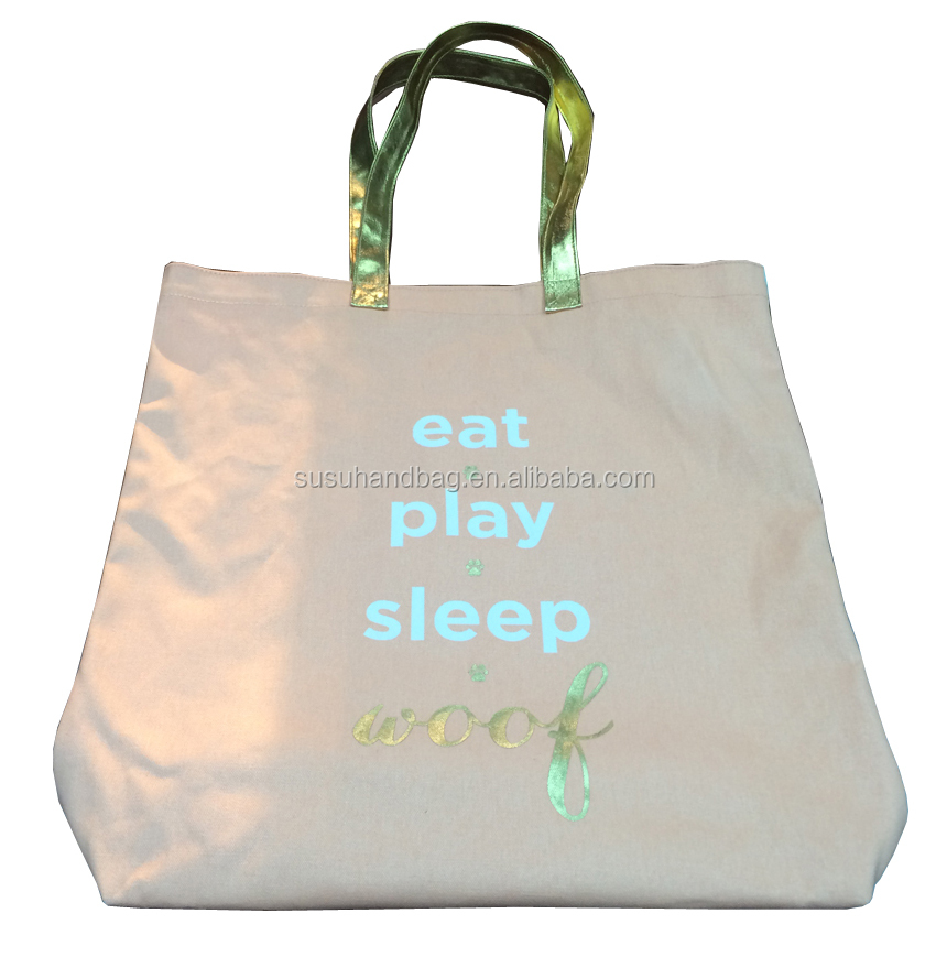 Good Quality Pink Cotton Canvas Bag With Gold Foil Handles