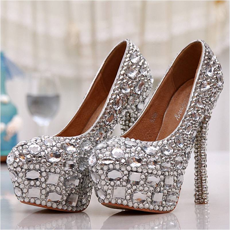 BS003 Party Wear Women High Heels Silver Rhinestone Wedding Party Prom Shoes Luxury Full Crystal Bridal Shoes