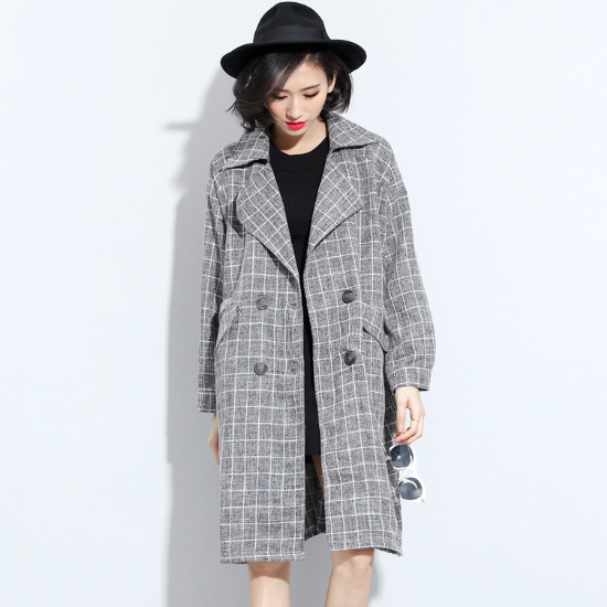 MS20621A Korean Style women long lattice pattern loose suit long coat plus size