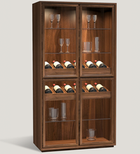 Vintage European Style Solid Wooden Wine Glass Display Cabinet