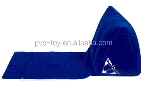 Promotional wedge shaped inflatable pillows flocking back wedge pillow triangle beach wedge pillow