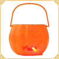 Hot Selling Lighted and Sounding Halloween Pumpkin Bucket For Promotion