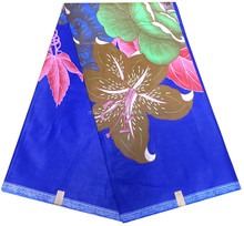 blue color flowers design african print fabric super wax sofy material nive dress making printed