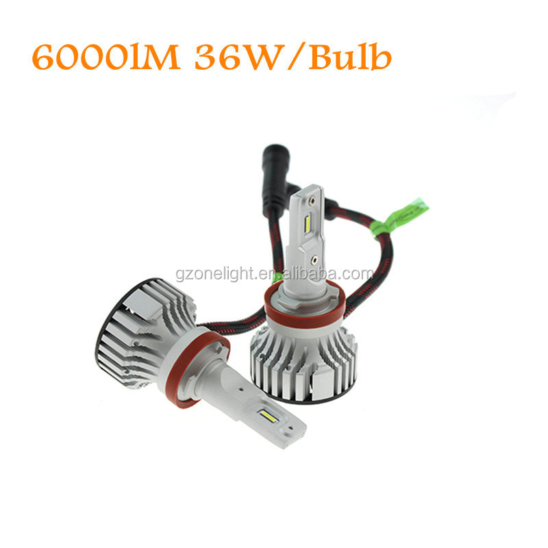 Super bright 36W 6000LM car led headlight with temperature sensor protection system