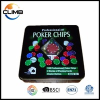 2016 NEW Professional cheap Casino 100pcs poker set with tin poker chip case premium poker chip set