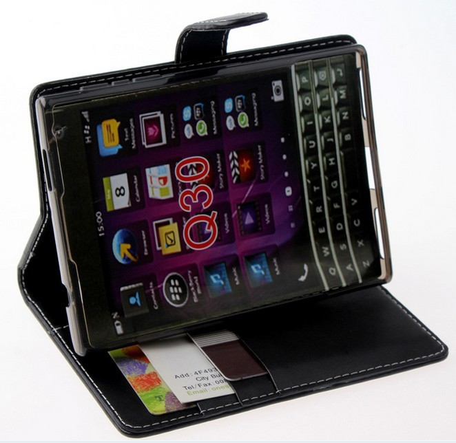 PU Leather wallet Case for blackberry Q30 passport