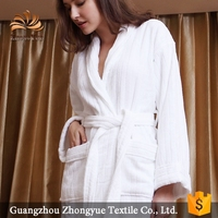 zhongyue adult 100% cotton white bath robe