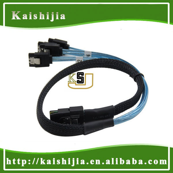 Mini SAS 4i 36P SFF 8087 to 4 SATA 7P Reverse Type cable with Latch - 50cm