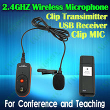 portable 2.4GHz tie clip wireless microphone collar clip mic