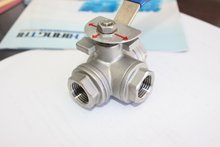 Stainless Steel Three Way Ball Valve, Female/Female/Female Thread, SS304, 1000WOG, CF8M