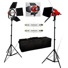 3pcs 800W Studio Video Soft Light Focused Red head Light kit + Spare Bulb+Carry bag