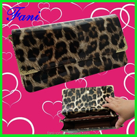 Luxury and fashional leopard print PU leather shoulder bag with long chain strap