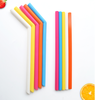 Wholesales Amazon FDA Flexible Reusable Silicone Bend Slim Straws With Cleaning Brush