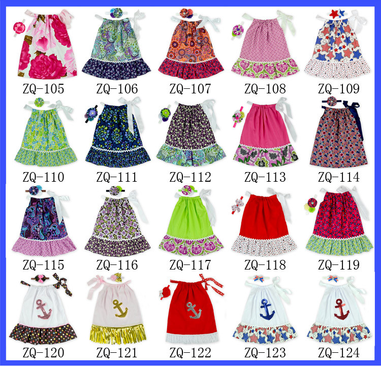 2016 Hot Fashion 4th Of July Pillowcase Dress For Baby Girl White Red Green Stars 100 Cotton Fabric Baby Girls Frill Party Dress