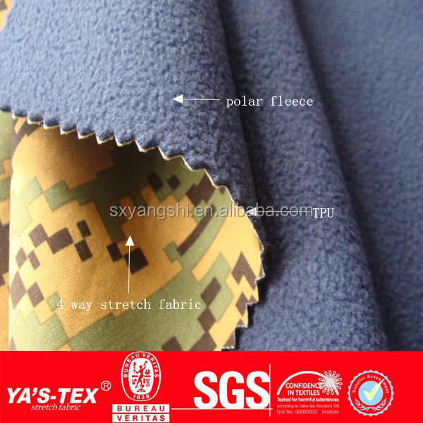 Fashion 3 Layers Waterproof Breathable Polar Fleece Bonded Fabric, Bonding Fabric, TPU Laminated Fabric With TPU Membrane