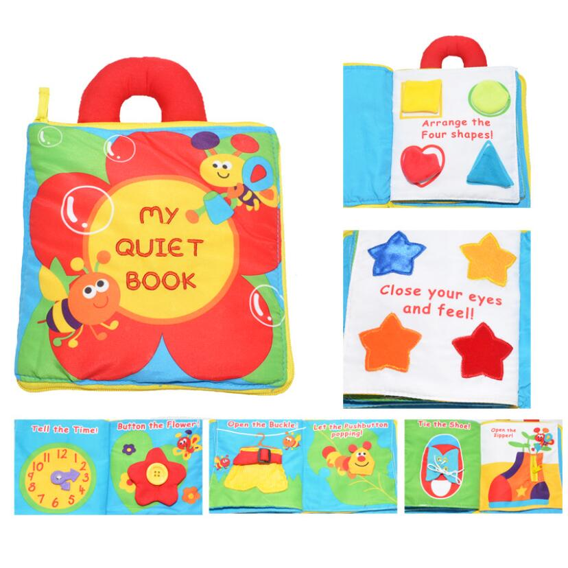 Soft baby cloth book washable baby fabric educational book with handle
