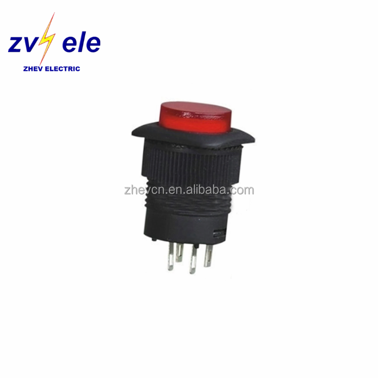 blue reset button red illuminated 220v push switches mount diameter 16mm square top NO latching 4pins push button switch