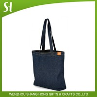durable blue denim jean cloth carnabycotton tote shoulder bag for students library school promotion gift
