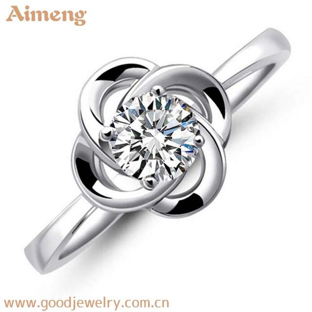 New four-leaf clover hollowed diamond 925 silver women's wedding rings