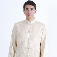 Dancing Dragons Brocade Chinese Jacket - Beige