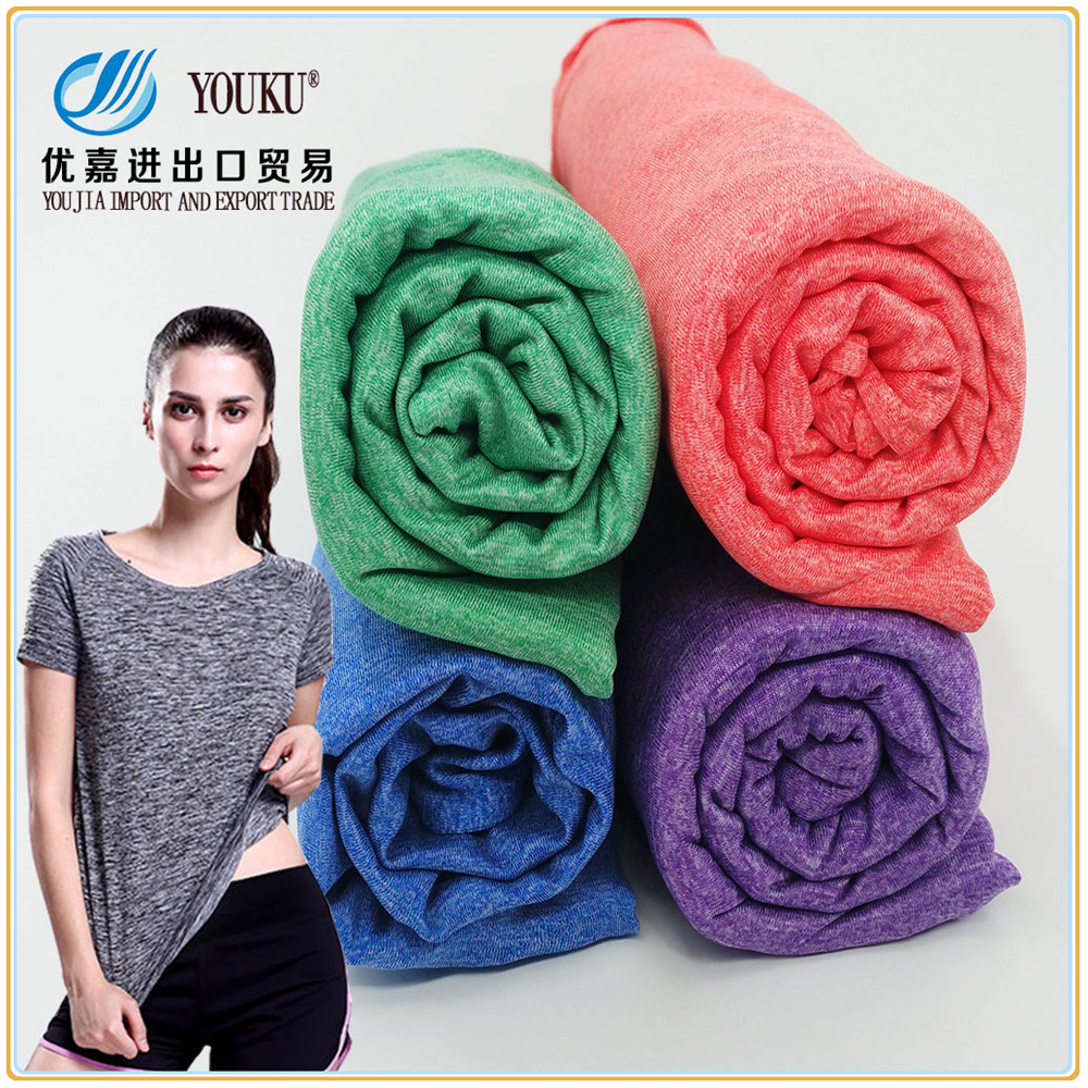 Quick dry moisture wick polyester cationic spandex blend melange color knit single jersey for T-shirt