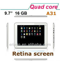 ZX-MD9708 2013 Newest 9.7 Inch high end high resolution Allwinner A31 Quad Core android tablet pc