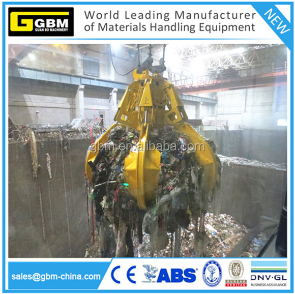 GBM hydraulic orange peel grab for power plant /housing waste motor refuse orange peel grab bucket grapple