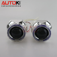 Autoki mini gatlin gun bi xenon projector lens angel eye led devil eye kit