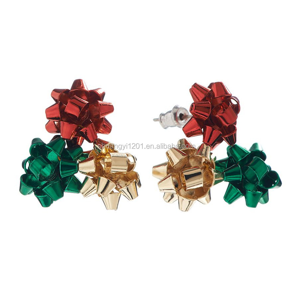 Silver plated with enamel christmas bow cluster stud child and girls earrings gift