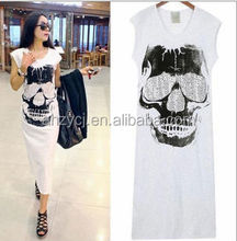 Fashion design ladies clothing sleeveles cotton girl summer skull design long dress
