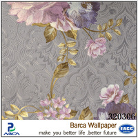 buy deep embossed pink flower glitter 3D wall papers